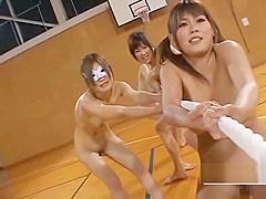 Nudist Japan athletes play bizarre game of tug of war
