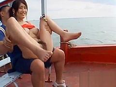 Racy busty exotic Rui Akikawa deepthroats and rides