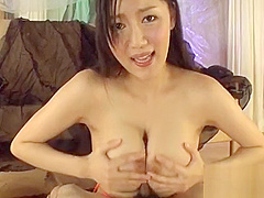 Lusty asian masturbates previous to giving irresistible blowjob