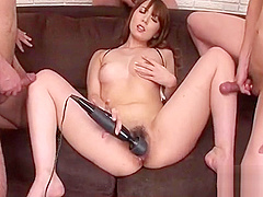 Voluptuous oriental stimulates her twat with a beefy toy
