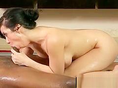 Japanese busty masseuse gives nuru gel massage 25