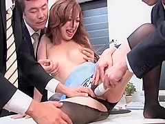 Sexy asian girl sucks cocks and gets dildoed