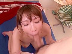 Charming busty oriental Kokomi Sakura attending in beautiful foot fetish performance