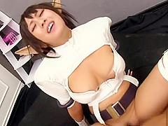 Beautiful breasty oriental young harlot Hitomi Kitagawa is sucking my cock