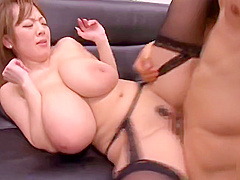 Seducing breasty Japanese mom Hitomi Tanaka acting in a sperm shot porn movie at work