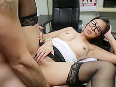 Horny Asian Brings Her Dildo To Interview and Fucks New Boss
