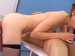 Gorgeous asian pussyfucked at the office