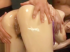 Japanese massive tits babe gets oiled and fucked