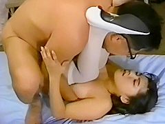 Young girl swallowing spit of an ugly old man 8