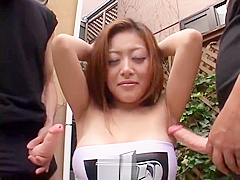 Jav Armpit Fetish with Hot Girl by 2 dudes.