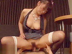 Japanese busty Milf squirts and fucks hard
