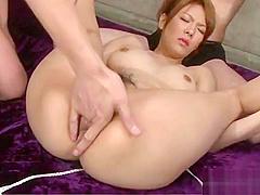 Japanese brunette babe fucked fingering