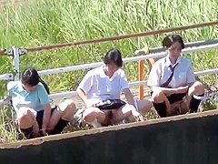 Japanese teens urinating outdoors
