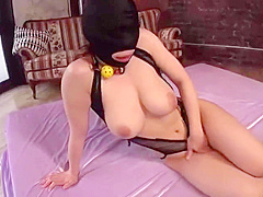 Face Covered Slut Fucked MMF Threesome Cum on Face