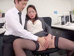 Hottest Japanese girl Rei Kitajima in Crazy stockings, blowjob JAV clip