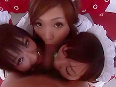 Horny Japanese chick Kanako Tsuchiya, Miyu Hoshino, Nomiya Hoshi in Incredible College/Gakuseifuku, Stockings/Pansuto JAV scene
