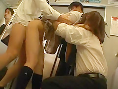 Fabulous Japanese girl Akane Mochida, Rina Himekawa in Incredible Gangbang, Fingering JAV scene