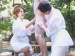 Incredible Japanese model Meguru Kosaka, Sasa Handa, Kaho Kasumi in Fabulous Threesomes JAV movie