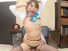 Crazy Japanese slut Aoki Misora in Hottest Threesomes, Secretary JAV clip