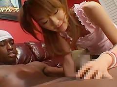 Horny Japanese chick Izumi Hasegawa in Fabulous Facial, Interracial JAV movie