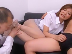 Hottest Japanese girl Haruki Sato in Incredible Footjob, Threesome JAV clip